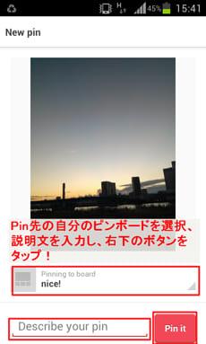 Pinterest:ギャラリーから直接ピンすることもできる