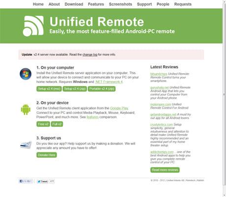 Unified Remote:PCサイトの画面。サーバソフトをダウンロードする