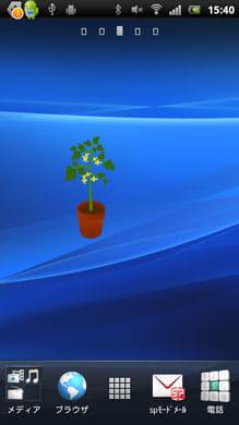 トマト栽培バッテリーウィジェット:バッテリー残量が50~74で見られる黄色い花
