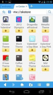 Maxthon Android Web ブラウザー:オリジナリティ抜群のテーマが多数揃う