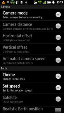 地球のHD無料版:設定画面