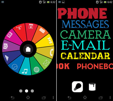 Foneclay:個性的なスキンばかりなので、好みのデザイン・操作性で選ぼう。「ColorWheel」(左)「TextSlide」(右)