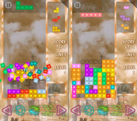"TRARISデラックス:列の一気消しで高得点を狙おう(左)""元祖""とは違う形のブロックも落ちてくる"