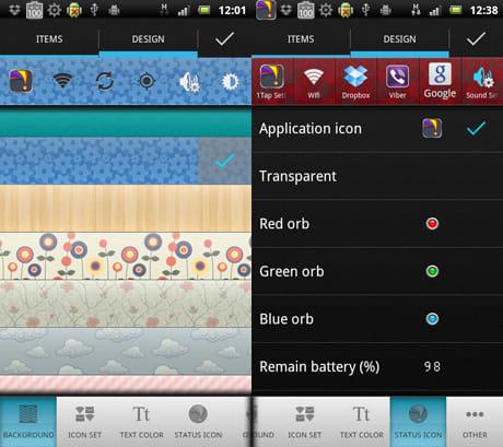 1Tap Quick Bar -Quick Settings:背景選択画面(左)ステータスバーに表示するアイコン選択画面(右)