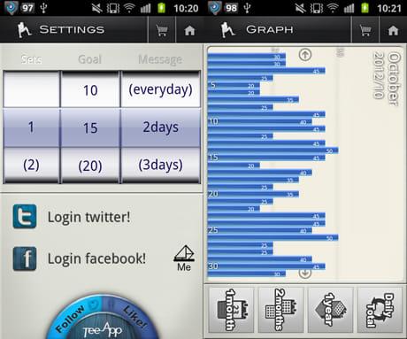 365日 腹筋アプリ SitApp:腹筋回数の設定(左)月間の腹筋回数をグラフ表示(右)