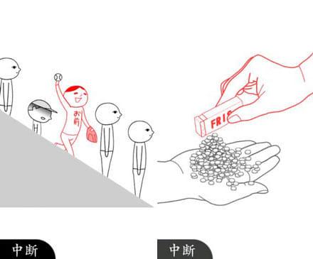 空気読み。2:空気が読めてない人。(左)わざとやってるでしょ?(わざとボケるモードもある)(右)