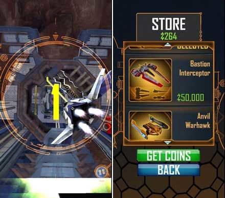 ザクソン エスケープ Zaxxon Escape:コインをためて新しい機体をゲットすることも可能。