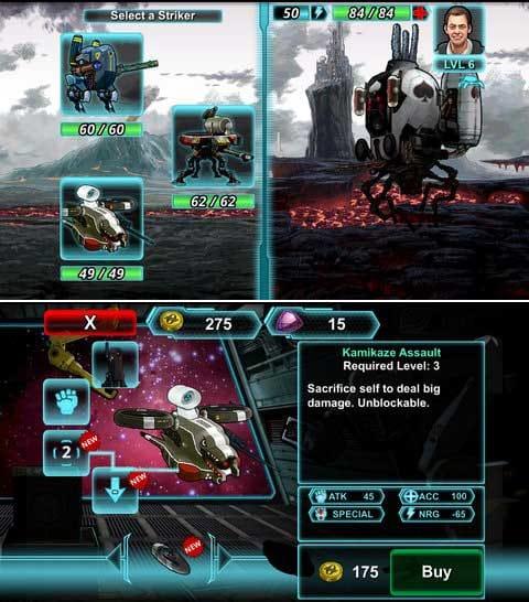 OFFWORLD:戦闘は1対1だが、途中で機体の交代が可能。(上)多種多様なロボットのカスタマイズが可能。(下)