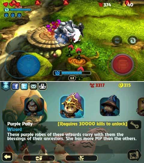 Fantashooting:強力な召喚獣が味方になる。(上)7つのキャラクターが使用できる。(下)