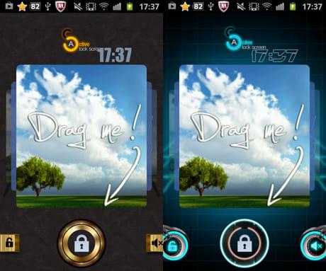 Active Lock Screen:テーマをダウンロードすれば、ロック画面のデザインを変更できる。「LockScreen Equalizer Theme」(左)と「LockScreen Tron Theme」(右)
