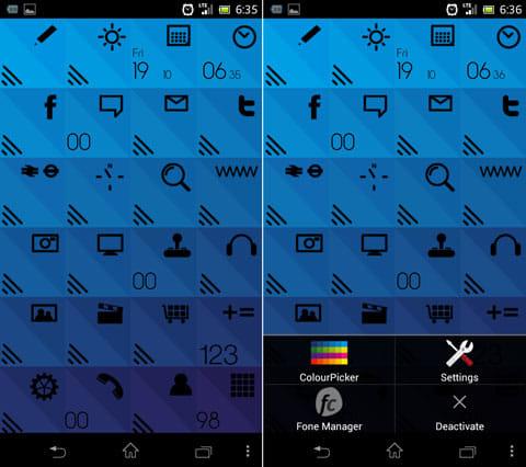 Foneclay:「Triphone」設置画面。見た目が変わるのはもちろん、スキンによって設定できる項目・内容が異なる