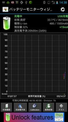 Battery Monitor Widget:ウィジェットタップ後、バッテリーの情報画面が表示される