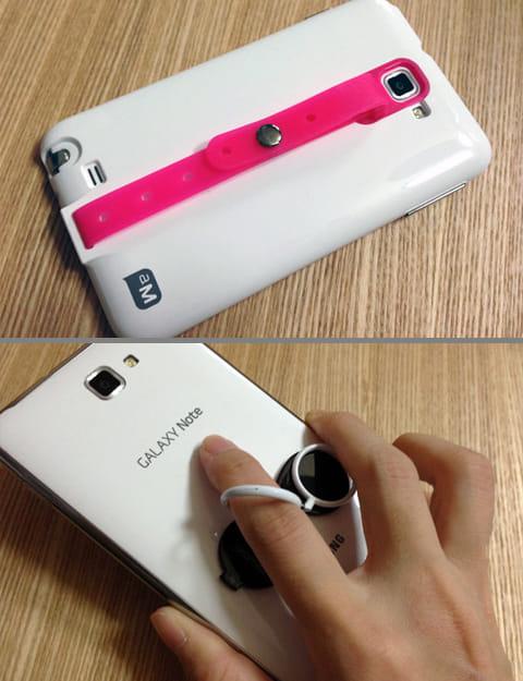 GALAXY Note SC-05D専用グリップ付きカバー(上)スマホに貼り付けられるグッズも発売されている(下)