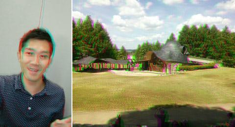 PicArts - Photo Studio:どちらも3D Effect。「Red Cyan」(左)「Green Magenta」(右)