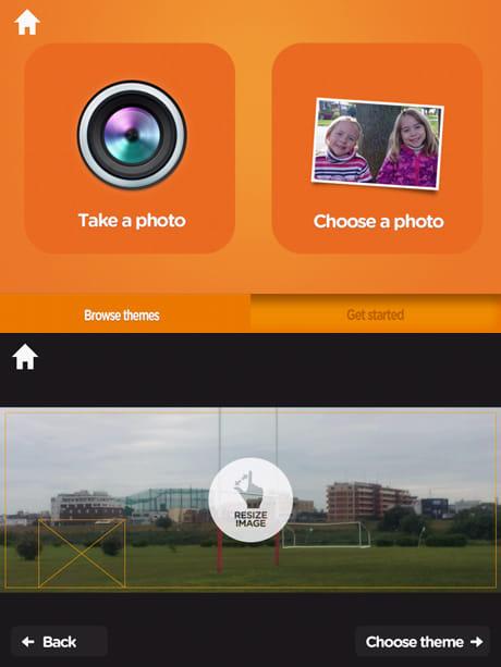 WIND Cover Photo Maker:撮影するかギャラリーの写真を使用するか選択(上)写真のトリミング(下)
