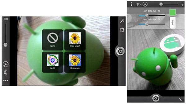 写真スタジオ:カメラアプリのエフェクトを選択可能(左)「Color splash」の撮影画面(右)