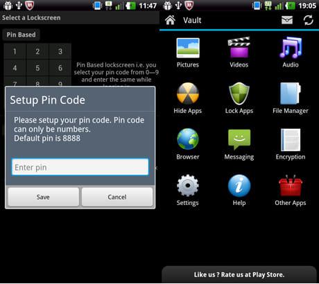 Hide It Pro:パスワードとメールアドレスを設定(左)隠しファイル管理画面(右)