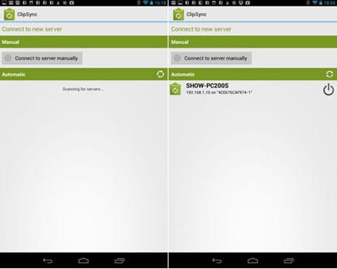 ClipSync:サーバを検索中(左)接続した画面(右)
