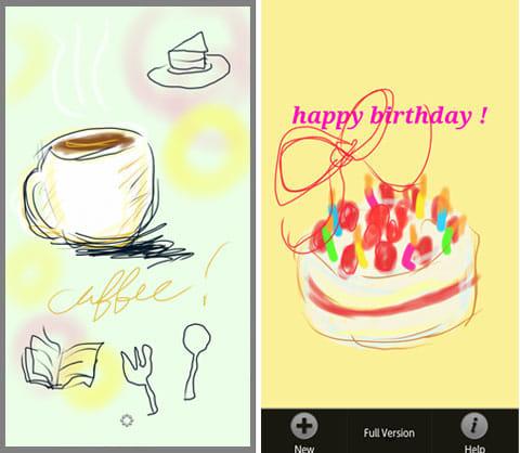 SketchBook Mobile Express:いろいろなイラストを描いて楽しもう。右画面は端末のメニューをタップした様子