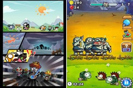 最強キモカワ系!牧場勇者(無料ゲーム):平和な牧場にゾンビが!(左)きゃー!!あぶなーい!!(右)