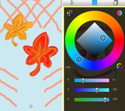 SketchBook Mobile Express:片面に描いた線が、線対称で反映される(左)カラー選択画面(右)