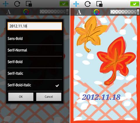 SketchBook Mobile Express:フォントを選択中(左)テキスト編集画面(右)