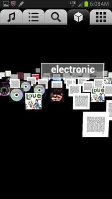jukefox - a smart music player:画面上部のキューブアイコンをタップすると3D、右端は2Dで表示される