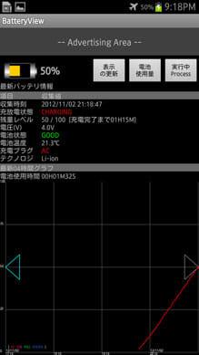 『BatteryView(バッテリー管理)』画面