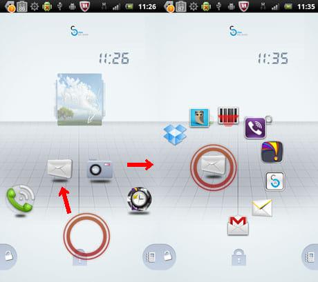 Active Lock Screen:赤いサークルの奥にカテゴリ毎のショートカットアイコンが表示(左)カテゴリアイコンにサークルを重ねるとショートカットが表示(右)