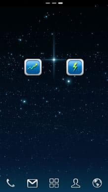 メモリブースター軽量(Memory Booster):ウィジェット。左側はメモリ最適化、右側がタスクキラー