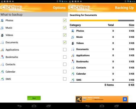 Clickfree Mobile Backup:バックアップしたいデータのジャンルを選択(左)バックアップの実行中(右)