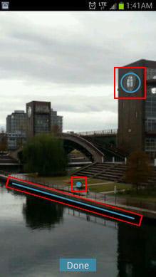 Picture Password Lockscreen:ロックを解除するには赤で囲われた所をジェスチャーする