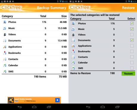 Clickfree Mobile Backup:各ジャンルのバックアップ容量を表示(左)バックアップしたい項目を選択して「Restore」をタップ(右)