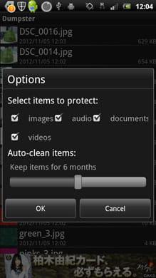 Dumpster - Recycle Bin:ファイルの種類やデータ保存期間を設定