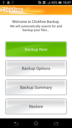Clickfree Mobile Backup:メイン画面