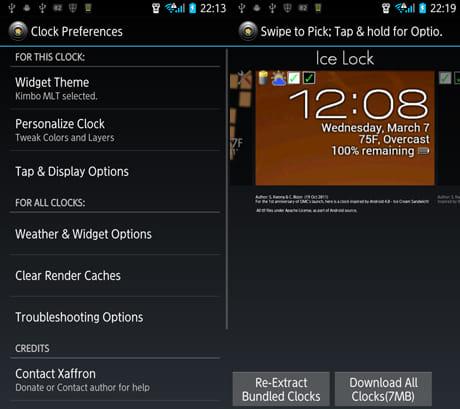 One More Clock Widget Free:設定画面(左)豊富なテーマが用意されている(右)
