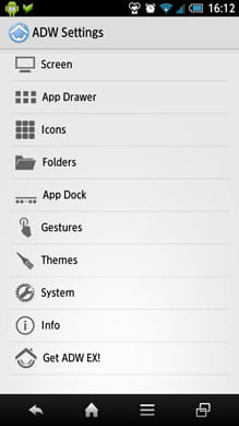 ADW.Launcher:「ADWSettings」画面