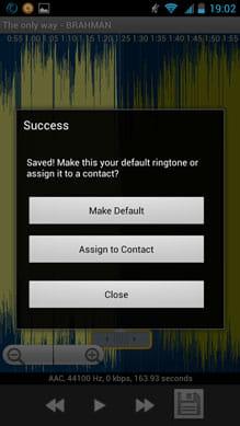 MP3 Ringtoneメーカー:「Ringtone」の場合、デフォルトの設定にするか聞かれる