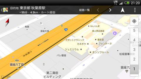 紙の地図のように滑らかなマップ。大型店舗の場合、トイレの位置がわかるなど役に立つ
