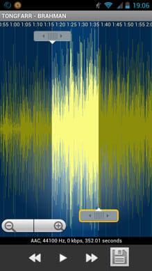 MP3 Ringtoneメーカー:スライダーを動かして着メロにしたい箇所を選択