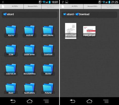 iAnnotate PDF:「ライブラリ」。フォルダ選択はアイコン形式(左)PDFはプレビューが表示される(右)