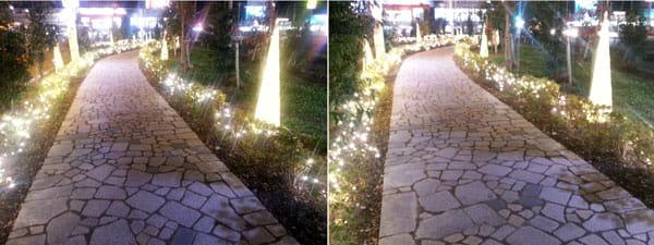 夜景モード撮影:「GALAXY S III α SC-03E」(左)「GALAXY S III SC-06D」(右)