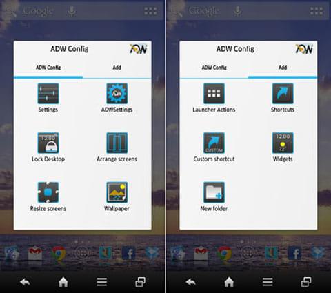 ADW.Launcher:設定の「ADW Config」画面(左)ウィジェット等を追加する「Add」画面(右)