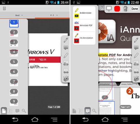 iAnnotate PDF:左側のツールバーの機能。ページのプレビュー画面(左)注釈一覧画面(右)