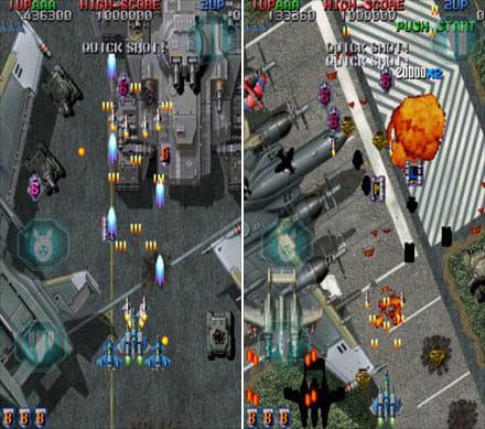 Raiden Legacy:左下のボムボタンなどの配置変更も可能(左)アイテムを取って、装備強化(右)