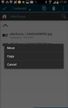 File Wrangler:移動かコピー、キャンセルを選択できる