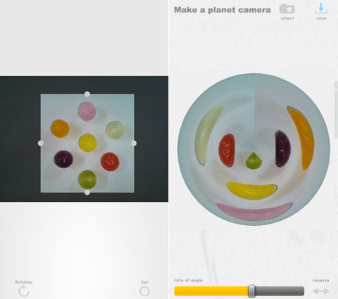 プラネットカメラ:7色の飴をトリミング(左)動物のようなかわいらしい画像が完成(右)