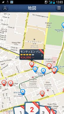 H.I.S. VACATION:「地図」からの検索画面。観光スポットも同時に確認できる