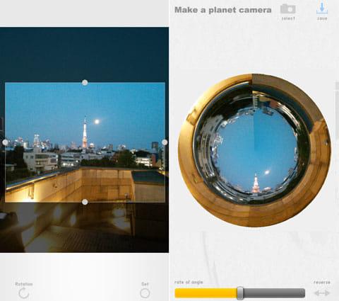 プラネットカメラ:東京タワーが輝く夜景はどうなるか…(左)アーティスティックな風景画像になりました(右)