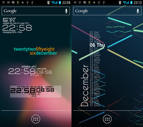 Zooper Widget:様々なデザインのウィジェットが用意されている